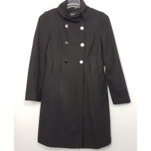 GUESS wool blend long coat military style form fit